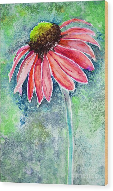 Wood Print featuring the painting Red Cone Flower 9-1-15 by Mas Art Studio