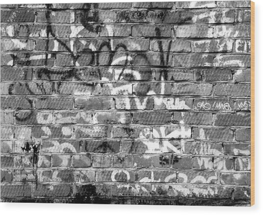 Red Construction Brick Wall And Spray Can Art Signatures Wood Print