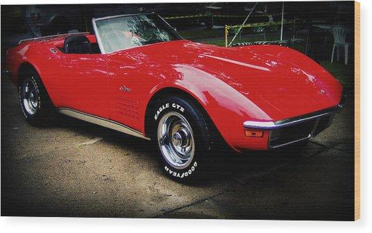 Red Corvette Wood Print by Emily Kelley
