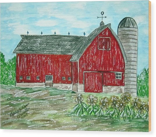 Red Country Barn  Wood Print