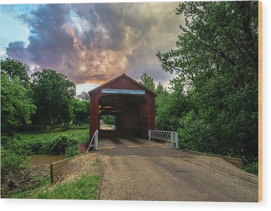 Red Covers Bridge With Pretty Sky  Wood Print