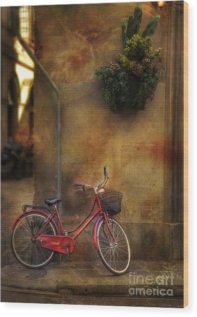 Red Crown Bicycle Wood Print