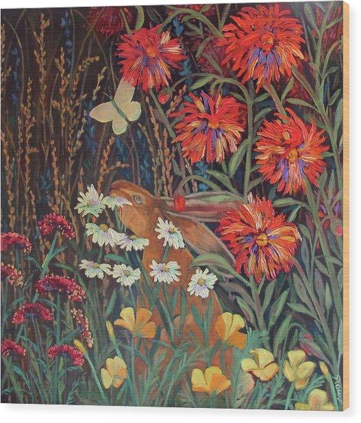 Red Dahlia Garden- Dyptich B Wood Print