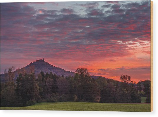 Red Dawn Over The Hohenzollern Castle Wood Print