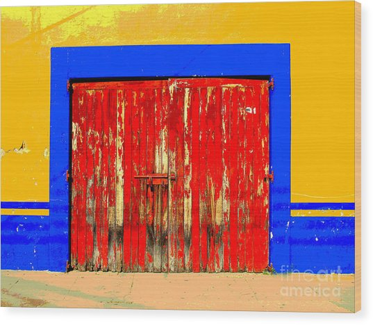 Red Door By Darian Day Wood Print by Mexicolors Art Photography