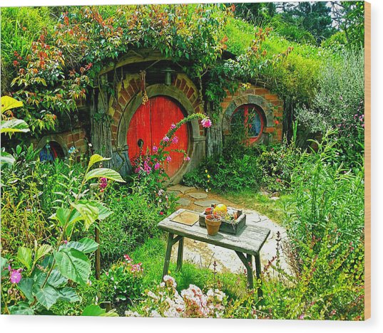 Red Door Hobbit Home Photo Wood Print