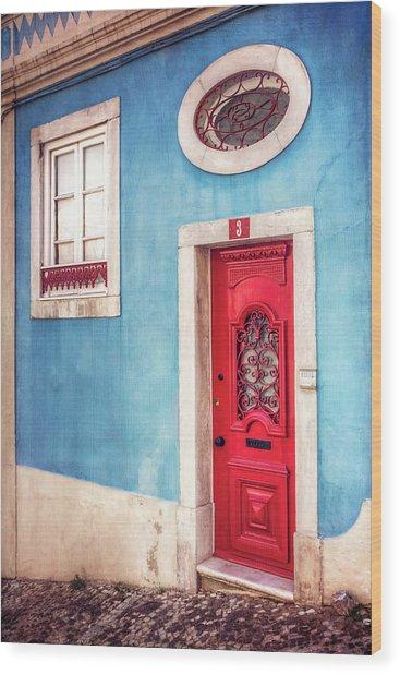 Red Door In Lisbon  Wood Print