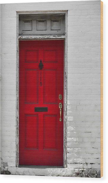 Red Door Wood Print by JAMART Photography