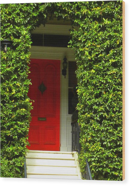 Red Door Wood Print by Kim Zwick