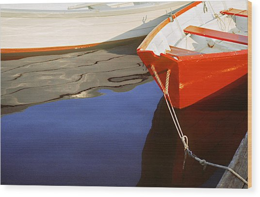 Red Dory Photo Wood Print by Peter J Sucy
