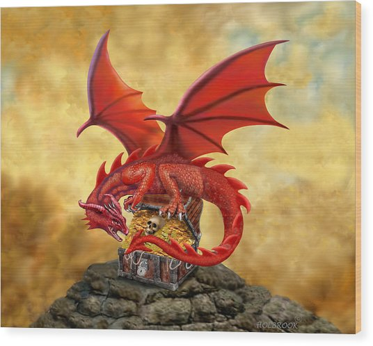 Red Dragon's Treasure Chest Wood Print