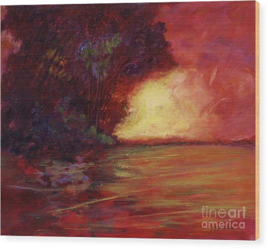 Red Dusk Wood Print