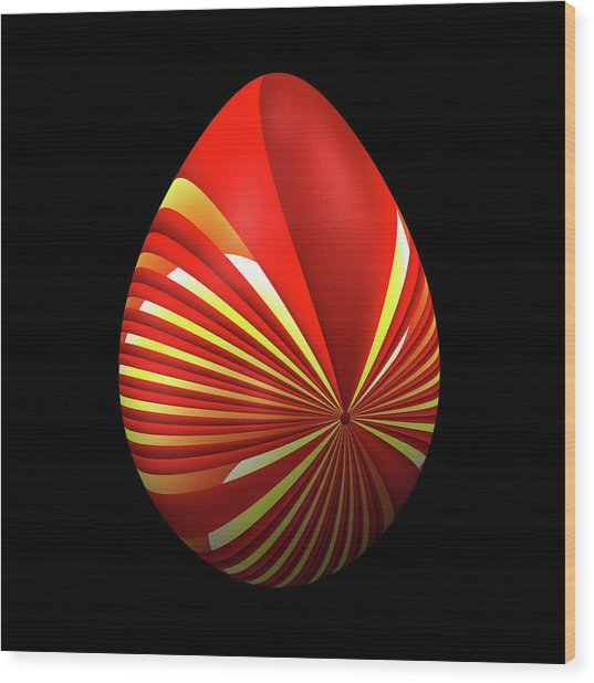 Red Easter Egg Wood Print