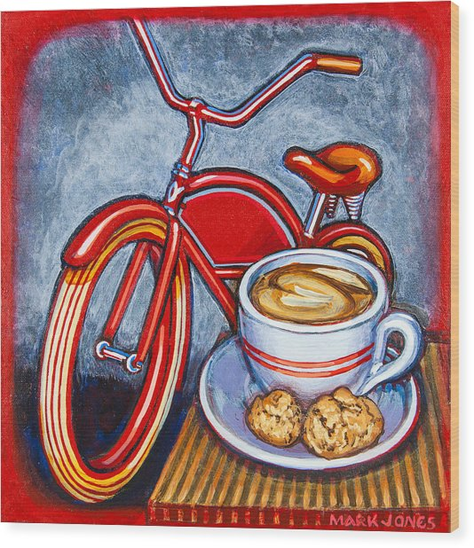 Red Electra Delivery Bicycle Cappuccino And Amaretti Wood Print
