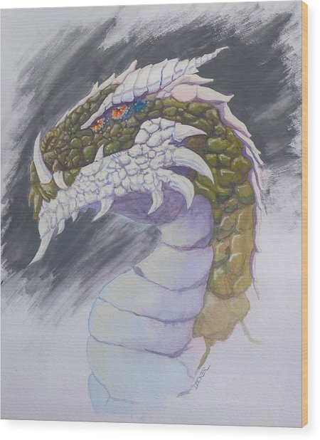 Red Eye Dragon Wood Print