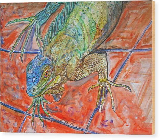 Red Eyed Iguana Wood Print by Kelly     ZumBerge