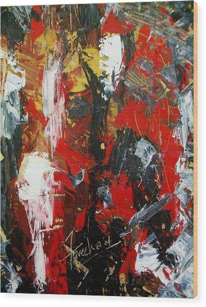 Red Fascism  Wood Print by Fareeha Khawaja