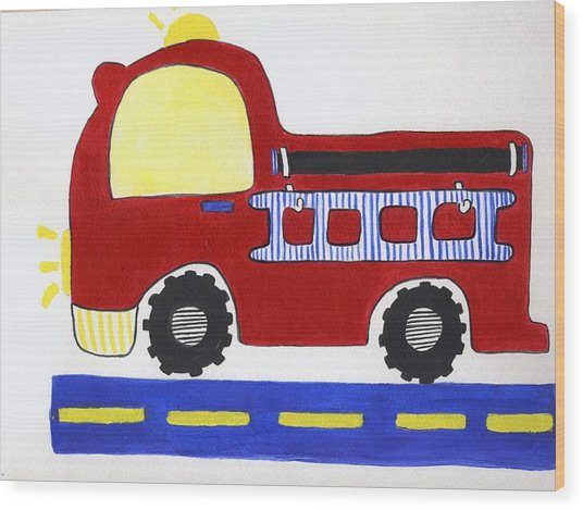 Red Fire Truck Wood Print by Christine Quimby