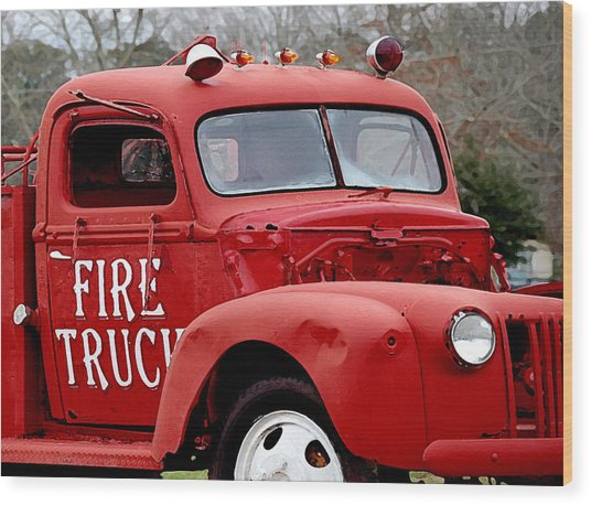 Red Fire Truck Wood Print