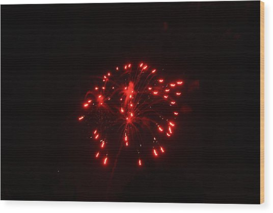 Red Fireworks Wood Print by JoAnn Tavani