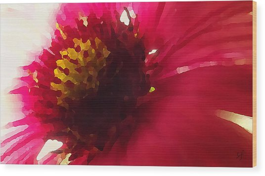 Red Flower Abstract Wood Print