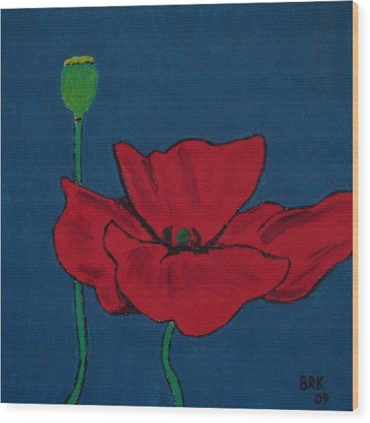 Red Flower Wood Print by Bo Klinge