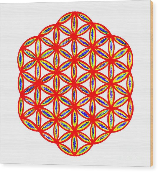 Red Flower Of Life Wood Print by Chandelle Hazen