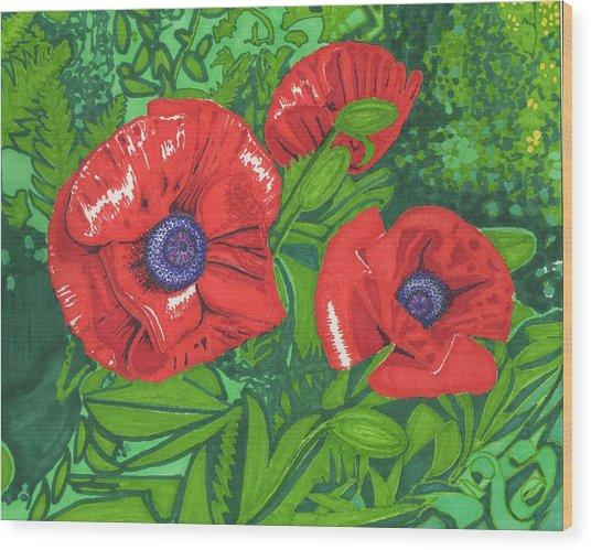 Red Flower Wood Print by Will Stevenson