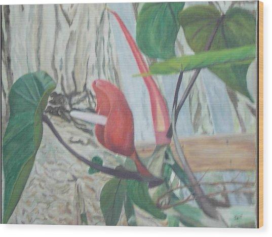 Red Flowering Vine Wood Print