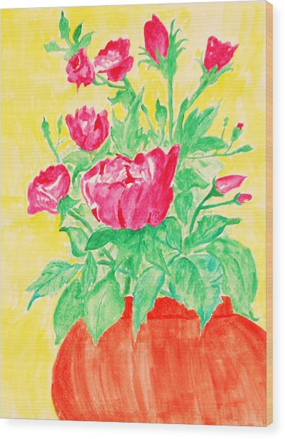 Red Flowers In A Brown Vase Wood Print