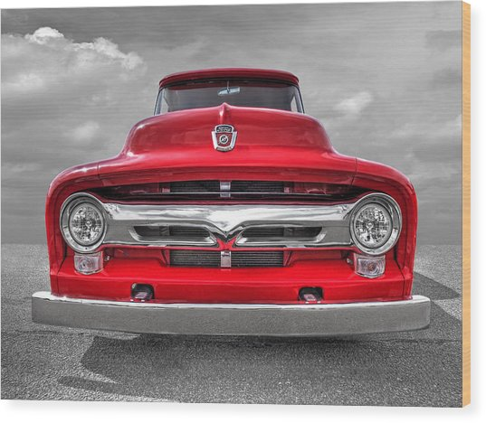 Red Ford F-100 Head On Wood Print
