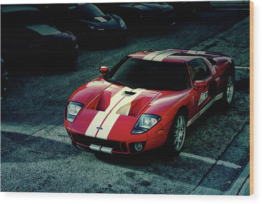 Red Ford Gt Wood Print