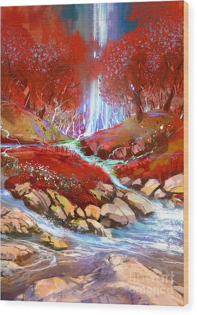 Wood Print featuring the painting Red Forest by Tithi Luadthong