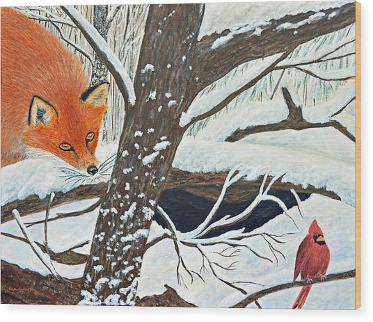 Red Fox And Cardinal Wood Print