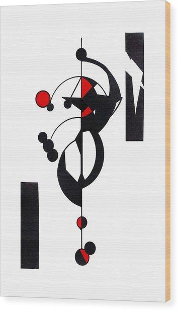 Red Geo Design Wood Print
