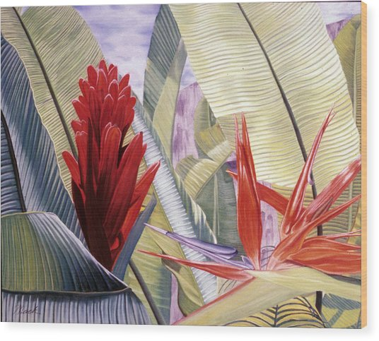 Red Ginger And Bird Of Paradise Wood Print by Stephen Mack
