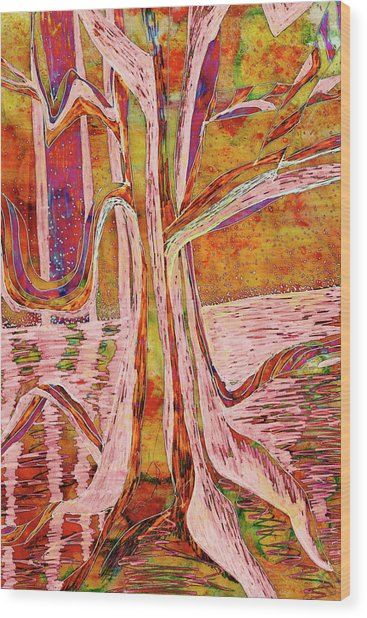 Red-gold Autumn Glow River Tree Wood Print