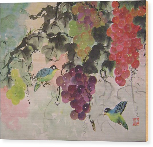 Red Grapes And Blue Birds Wood Print by Lian Zhen