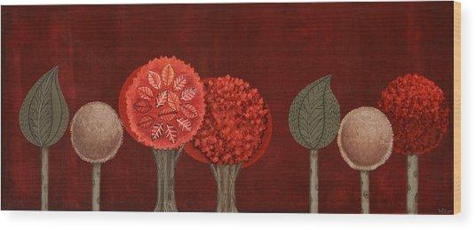 Red Grove Wood Print