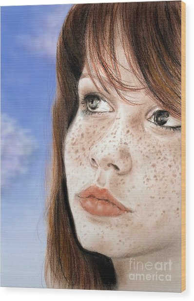 Red Hair And Freckled Beauty Version II Wood Print