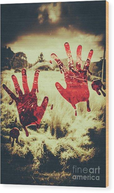 Red Handprints On Glass Of Windows Wood Print