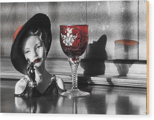Red Hat Lady Wood Print