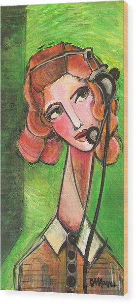 Wood Print featuring the painting Red Headed Operator by Laurie Maves ART