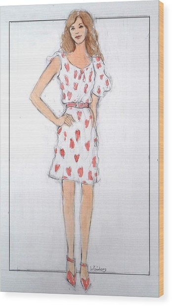 Red Heart Dress Wood Print