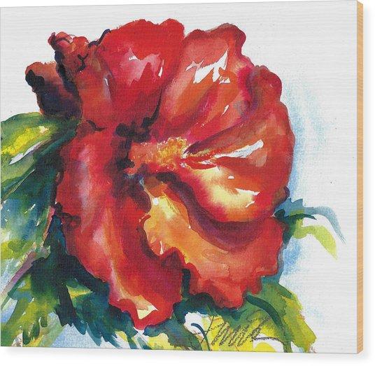 Fireball Red Hibiscus Wood Print