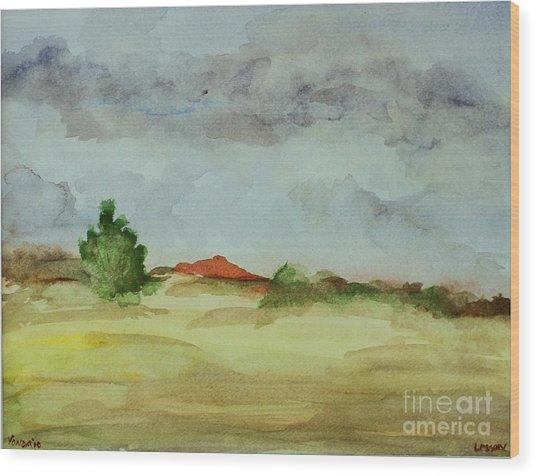 Red Hill Landscape Wood Print
