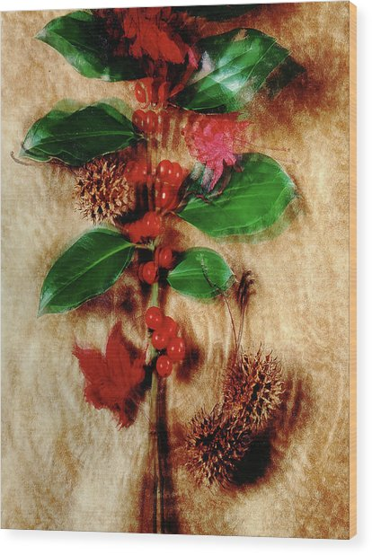 Red Holly Spinning Wood Print