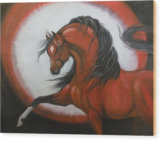 Red Horse Fantasy Wood Print by Liz Rose