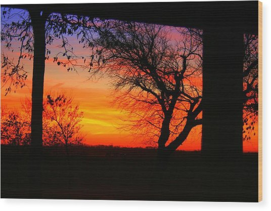 Red Hot Sunset Wood Print by Julie Lueders