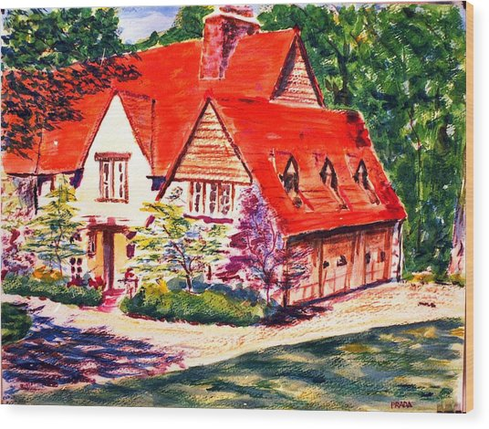 Red House In Clayton Wood Print by Horacio Prada